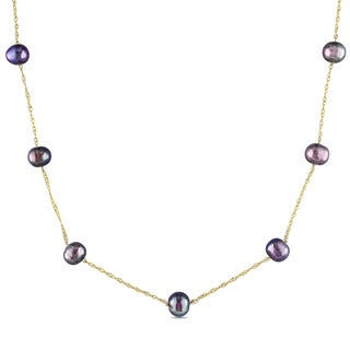 Miadora 10k Gold Black Cultured Freshwater Pearl Necklace (5.5-6mm)