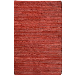 Hand-woven Chindi Flat-weave Leather Rug (5' x 8')