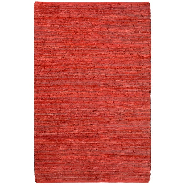 Hand-woven Chindi Flat-weave Leather Rug - 5' x 8'