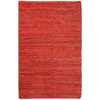 Hand-woven Chindi Flat-weave Leather Rug (5' x 8') - 5' x 8'
