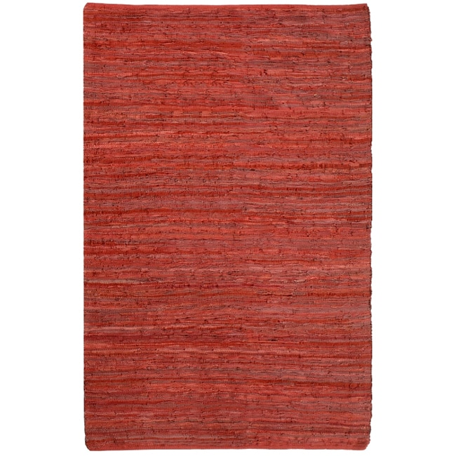 Hand-woven Chindi Flatweave Leather Rug (8' x 10')