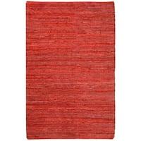 Hand-woven Chindi Flatweave Leather Rug (8' x 10') - 8' x 10'