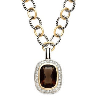 Sterling Essentials Silver Antique Finish Two-Tone Oval CZ Necklace