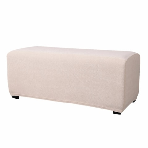 Enova Home Ultra Soft Stretch Fabric Oversize Ottoman Slipcovers Removable Anti-Dirty Fitted Furniture Protector For Living Room