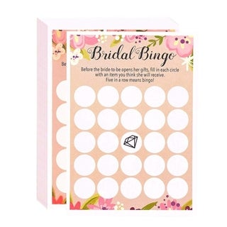 "50 Floral Rustic Bridal Shower Wedding Game Cards Party Supplies -Bingo 5""x7"""