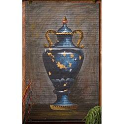Hand-painted Blue Urn Bamboo Wall Art