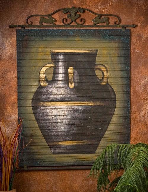 Hand-painted Black Urn Bamboo Wall Art
