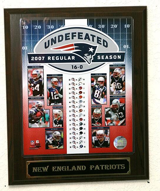 New England Patriot Undefeated Season Plaque