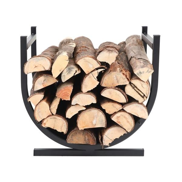 Patio Lawn Garden Firewood Racks Black Phi Villa 17 Inches Small Decorative Indoor Outdoor Firewood Log Rack Bin With Scrolls