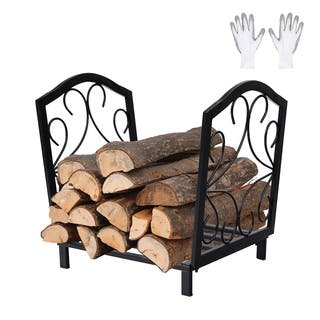 PHI VILLA 17 Inch Small Decorative Indoor/Outdoor Firewood Racks Steel Wood Storage Log Rack Holder - N/A