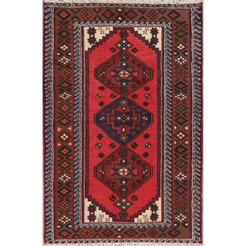 "Hand Knotted Hamedan Oriental Persian Wool Area Rug - 4'9"" x 3'2"""