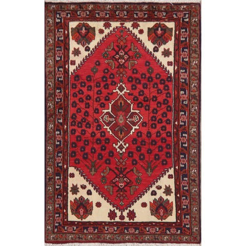 "Hamedan Hand Knotted Persian Oriental Wool Area Rug - 4'11"" x 3'2"""