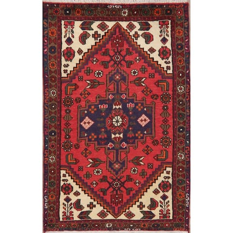 "Hamedan Hand Knotted Wool Persian Oriental Area Rug - 5'1"" x 3'2"""
