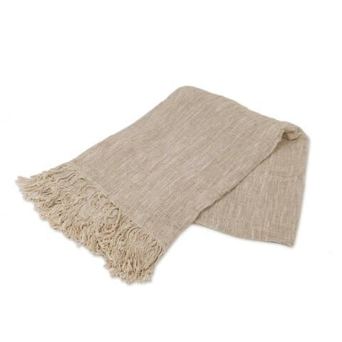 Handmade Alabaster Madura Cotton Throw (Indonesia)