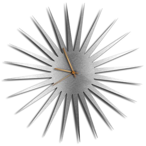 Adam Schwoeppe 'MCM Starburst Clock Silver Bronze' Midcentury Modern Style Wall Clock