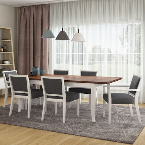 Copper Grove Olin 7-piece Butterfly Leaf White Finish Dining Table and Upholstered Armless and Arm Chairs