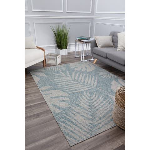 CosmoLiving by Cosmopolitan Indoor/Outdoor Veranda Blue Fern Area Rug