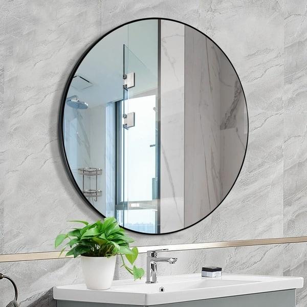 Mirror Trend Round Flat Metal Framed Wall Mirror DM031BK-30 Dia 30'' - N/A