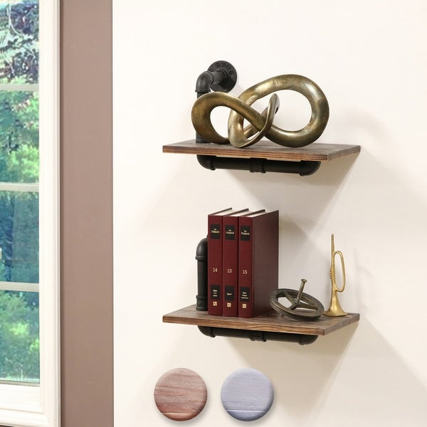 Dupliro Paired Weathered Wood and Black Pipe Wall Shelves (optional Colors)