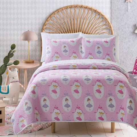 Mari & Mac- Ballerina Reversible Kids Quilt Set
