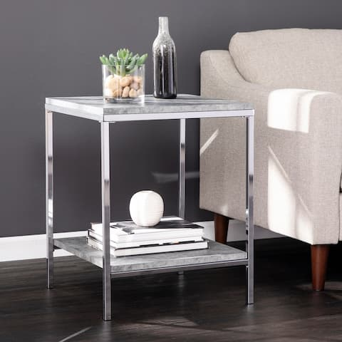Silver Orchid Levico Faux Concrete End Table