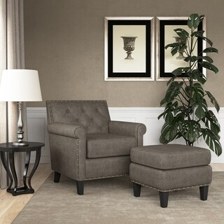 Link to Gracewood Hollow Grantley Button Tufted Rolled Arm Chair and Ottoman Similar Items in Living Room Furniture