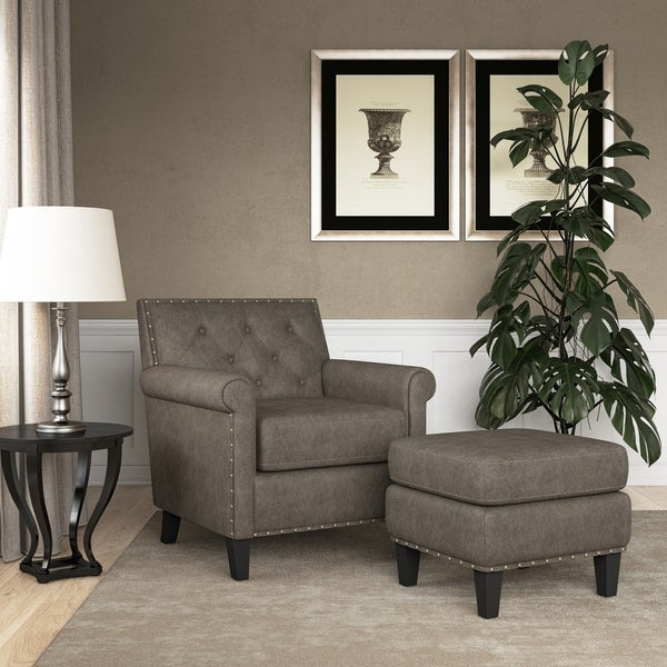 Gracewood Hollow Grantley Button Tufted Rolled Arm Chair and Ottoman. Opens flyout.