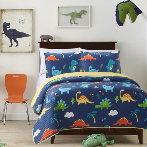 Mari & Mac- Dinosaurs Reversible Kids Quilt Set