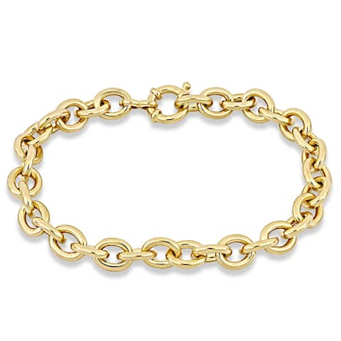 Miadora Yellow Plated Sterling Silver Classic Link Bracelet