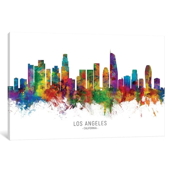 """iCanvas """"Los Angeles California Skyline"""" by Michael Tompsett Gallery-Wrapped Canvas Print"""