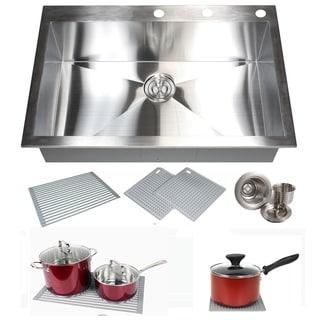 Link to Topmount / Drop-in 16 Gauge 33 in. x 22 in. x 10 in. Stainless Steel Single Bowl Zero Radius Kitchen Sink Similar Items in Sinks