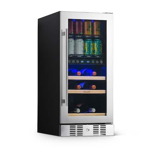 NewAir SplitShelf Built-In Wine & Beverage Cooler for 9-Bottle Wine & 48 Can Cellar Fridge Refrigerator - Stainless Steel