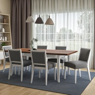 Copper Grove Olin 7-piece Butterfly Leaf White Finish Dining Table and Upholstered Armless Chairs