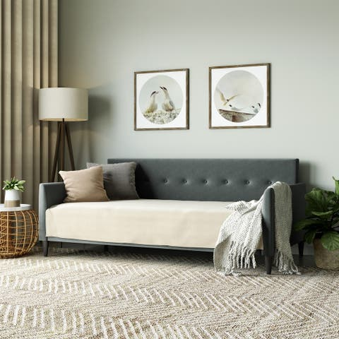 Carson Carrington Upholstered Twin-size Square Tufted Back Daybed