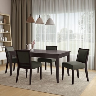 Copper Grove Olin 5-piece Butterfly Leaf Espresso Finish Dining Table and Upholstered Armless Chairs