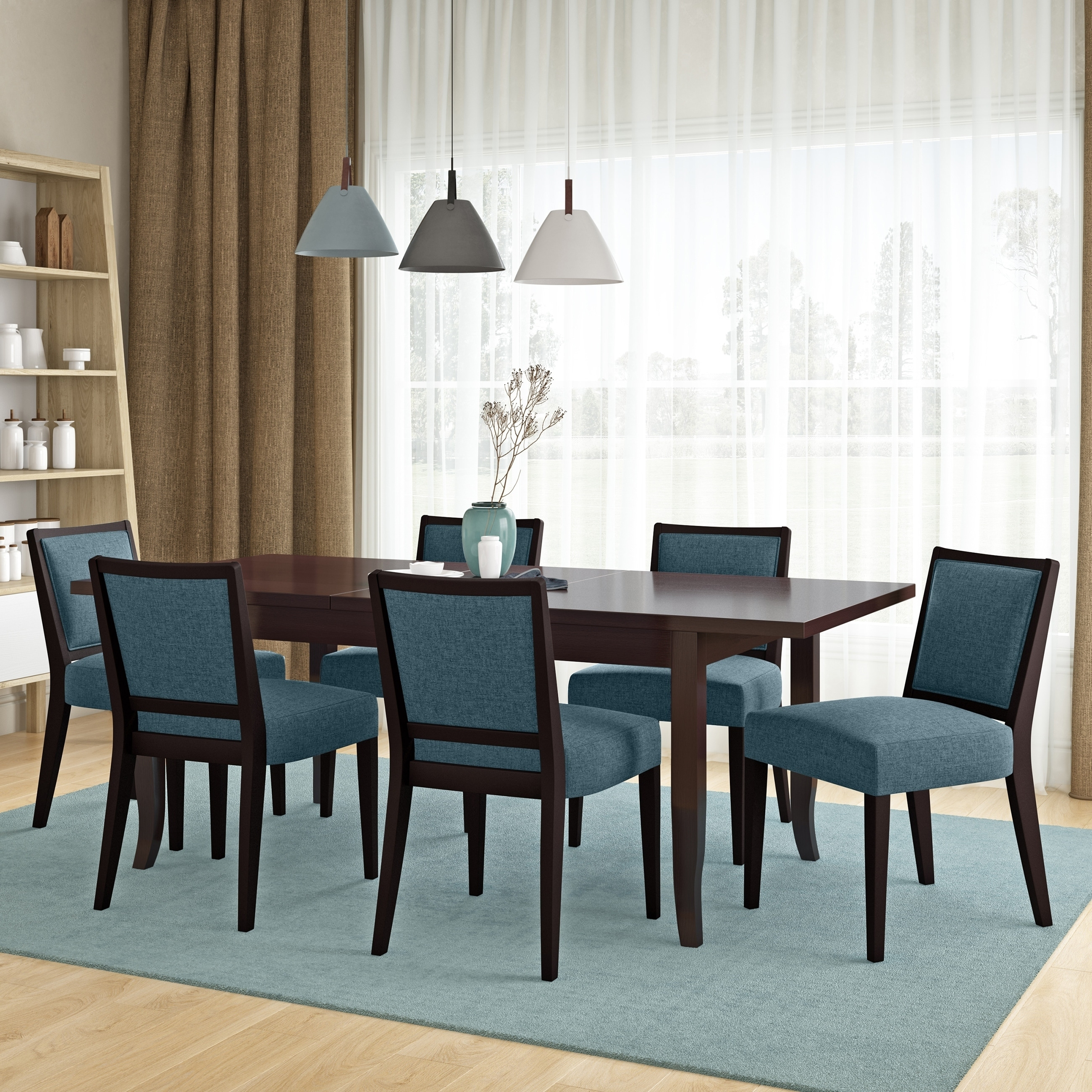 Copper Grove Olin 7 Piece Butterfly Leaf Espresso Finish Dining Table And Upholstered Armless Chairs Overstock 30064852