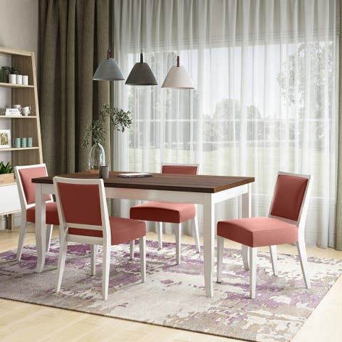 Copper Grove Olin 5-piece Butterfly Leaf White Finish Dining Table and Upholstered Armless Chairs
