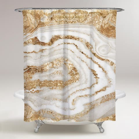 Oliver Gal 'Gold Agate' Abstract Decorative Shower Curtain - Gold, White
