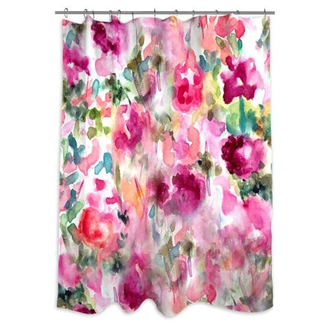 Oliver Gal 'In Wonderful' Floral and Botanical Decorative Shower Curtain - Pink, Green