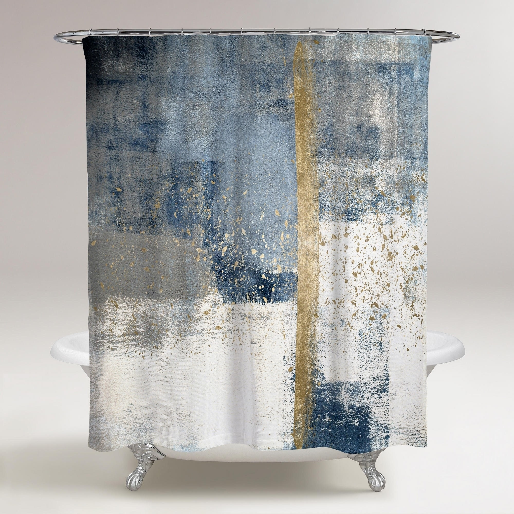 Oliver Gal In The Mid Summer Abstract Decorative Shower Curtain Blue White Overstock 30064918