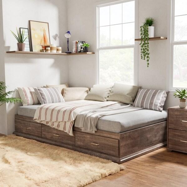 Roman Modern Walnut Finish Storage Platform Bed