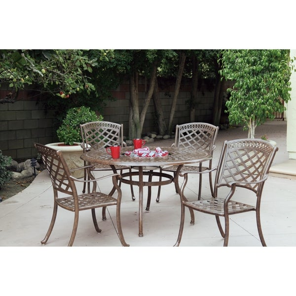 """5 Piece Dining Set, 52"""" Round Dining Table with Ice Bucket Insert"""
