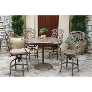 """5 Piece Counter Bar Height Dining Set with Cushions, 42"""" Round Counter Height Pedestal Bar Table"""