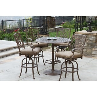 """5 Piece Round Bar Height Dining Set with Cushions, 42"""" Round Pedestal Bar Table"""