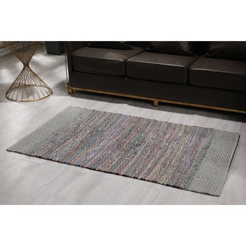 The Curated Nomad Cersai Handloom Multicolor Recycled Cotton Rug