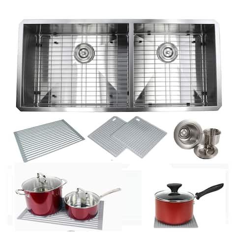 Undermount 42 in. x 20 in. x 10 in. Deep Stainless Steel 16-Gauge Double Bowl 60/40 Zero Radius Kitchen Sink Combo