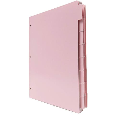 """Letter Size Binder Dividers with Tabs, 3 Hole Punched, Pink, 12 Sets, 9.5"""" x 11"""""""