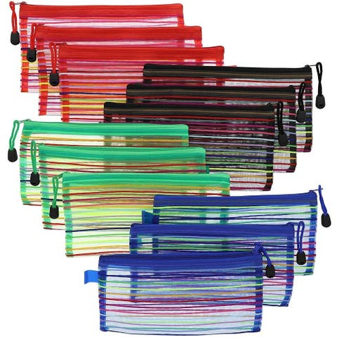 """Mesh Zipper Pencil Pouch with Rainbow Stripes (12 Count), 9.4""""× 4.5"""" 4 Colors"""