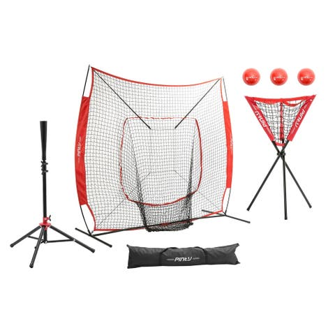 ZELUS 7'×7' Baseball Softball Practice Hitting Batting Net with Ball Caddy and Weighted Training Balls