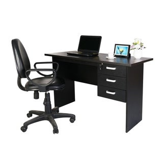 Furniture R Computer Desk with Lockable Drawers